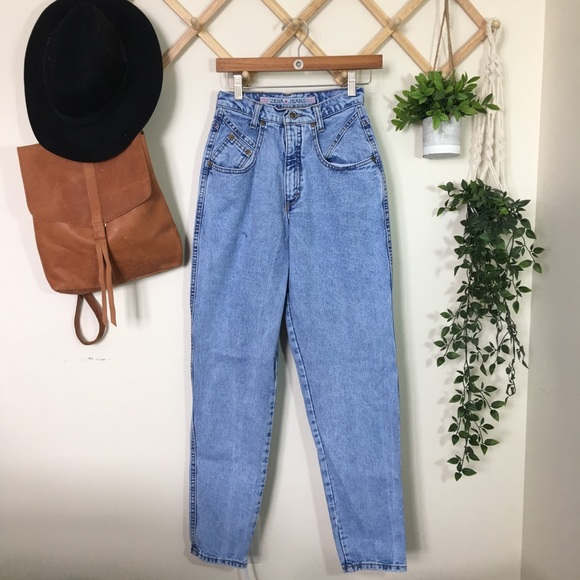 Vintage | Unique Pocket High Waist Mom Jeans P339